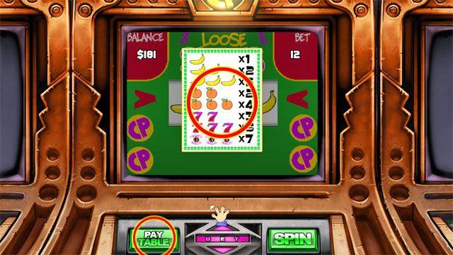 Aby sprawdzić jak wygląda płacenie za dany układ znaków kliknij PAY TABLE - Pieniądze i hazard - Elementy gry - Leisure Suit Larry: Reloaded - poradnik do gry