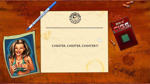 By pomin�� seri� pi�ciu weryfikuj�cych pyta� po wy�wietleniu pierwszego pytania kliknij ctrl + alt + x - wy�wietli si� informacja, �e jeste� cheaterem, ale przejdziesz dalej. - Pocz�tek - Solucja - Leisure Suit Larry: Reloaded - poradnik do gry
