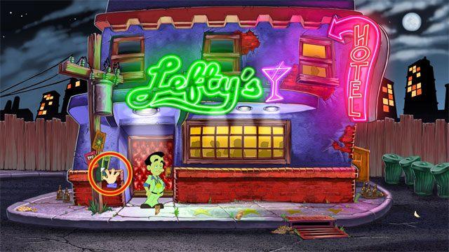 Wyjd� z �azienki, wr�� do g��wnej sali baru, a nast�pnie wyjd� z baru (kliknij id� przy dolnej kraw�dzi ekranu) - 1. Panienka - Solucja - Leisure Suit Larry: Reloaded - poradnik do gry