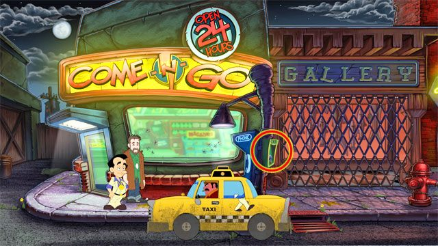 Wezwij taksówkę korzystając z zielonego telefonu na słupie po prawej - 1. Panienka - Solucja - Leisure Suit Larry: Reloaded - poradnik do gry