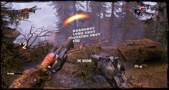 Sterty pali, za którymi należy się chować podczas walki - 4 - Gunfight at the Sawmill - Solucja - Call of Juarez: Gunslinger - poradnik do gry