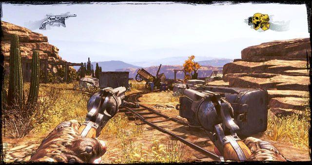 Idąc torami natkniesz się na pierwszych przeciwników - 5 - The Magnificent One - Solucja - Call of Juarez: Gunslinger - poradnik do gry