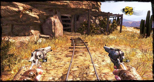 Po lewej od wozu można wejść do mniejszej kopalni - 5 - The Magnificent One - Solucja - Call of Juarez: Gunslinger - poradnik do gry