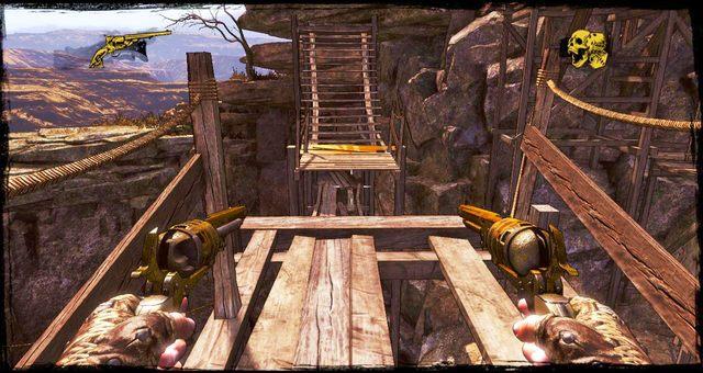 W tym miejscu trzeba przeskoczyć na drugą platformę - 5 - The Magnificent One - Solucja - Call of Juarez: Gunslinger - poradnik do gry