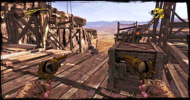 Miejsce w którym masz wybór czy iść po drabinach w górę, czy pojechać windą - 5 - The Magnificent One - Solucja - Call of Juarez: Gunslinger - poradnik do gry