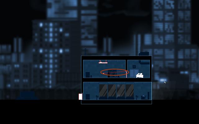 Zauważysz, że przełącznik światła jest połączony czerwoną kreską z lampą - #3 - Rooke - Crossed Wires - Opis przejścia - Gunpoint - poradnik do gry