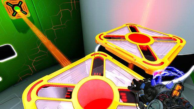 Zmień ładunek modułu napędzającego Twoją platformę na zielony, a następnie poczekaj, aż podjedziesz do pionowej platformy i przyciągniesz ją do siebie (obrazek powyżej) - Intermediate Platform - Akt I - Magrunner: Dark Pulse - poradnik do gry