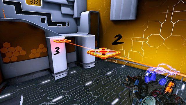 Gdy platformy zaczną się do siebie zbliżać, zmień ich ładunki na czerwone - Platform Test - Akt I - Magrunner: Dark Pulse - poradnik do gry