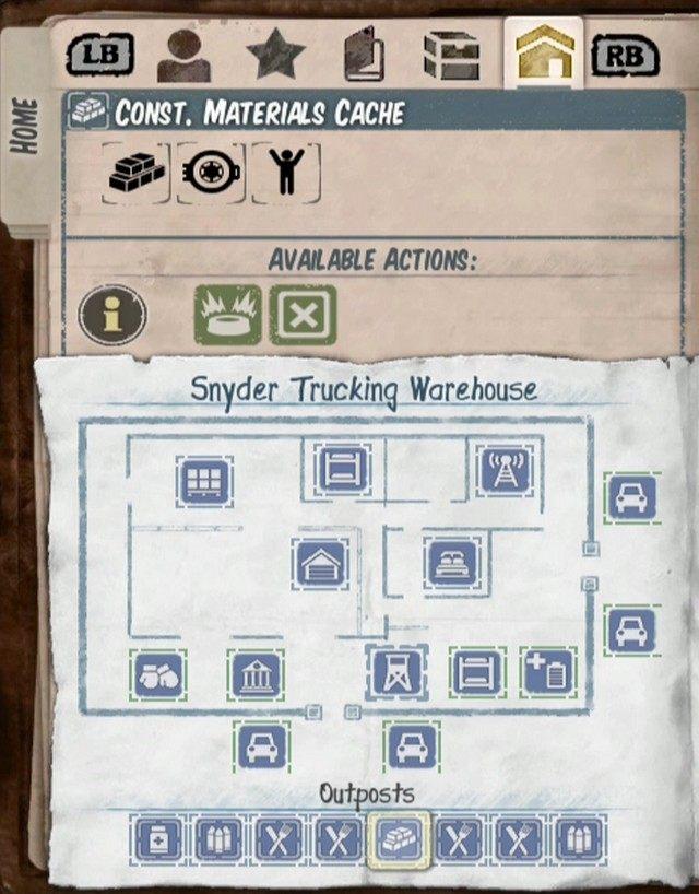 Placówki zaznaczone są na mapie zielonymi ikonami z paskiem postępu, dodatkowo podgląd placówek masz w ostatniej zakładce dziennika, na samym dole - Zdobywanie zasobów i budowa - Wskazówki - State of Decay - poradnik do gry