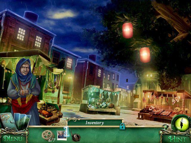 Ruszamy w kierunku straganów (Stalls), gdzie pokazujemy Amulet's photo [1] kramarce - Powrót do hotelu - Solucja - 9 Poszlak: Tajemnica Serpent Creek - poradnik do gry