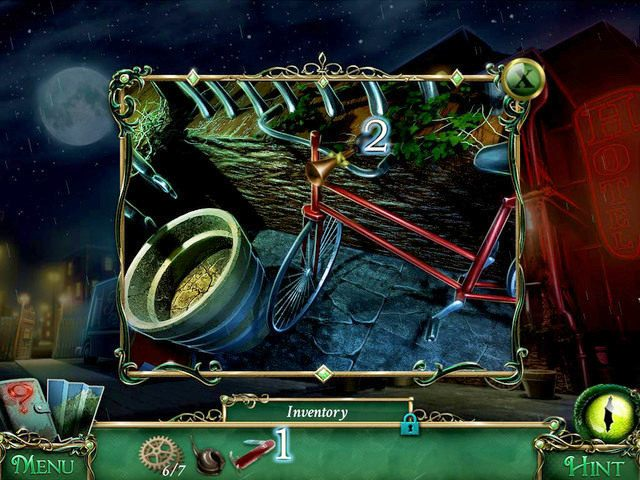 Podchodzimy do roweru i używamy Pocket Knife [1] na Bike Horn [2], dzięki czemu zdobywamy drugi ze wspomnianych przedmiotów - Powrót do hotelu - Solucja - 9 Poszlak: Tajemnica Serpent Creek - poradnik do gry