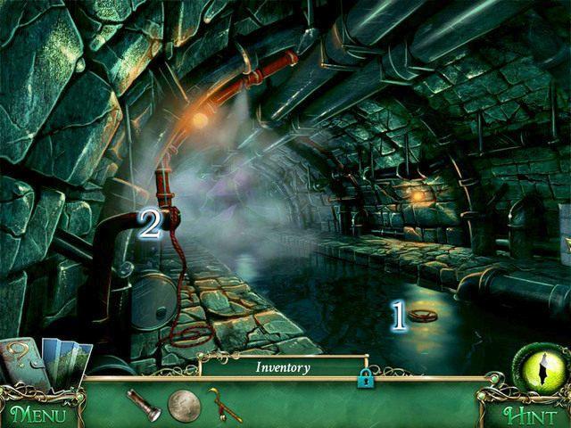 Przy pomocy Ritual sickle sięgamy Valve [1], a następnie podchodzimy do zaworu [2] - Kanały - Solucja - 9 Poszlak: Tajemnica Serpent Creek - poradnik do gry