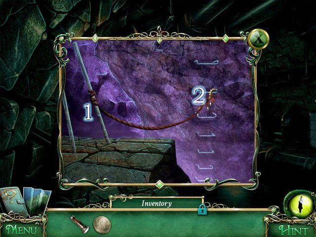 Zawiązujemy Rope we wskazanym miejscu [1], a następnie mocujemy do niej Ritual Sickle - Kanały - Solucja - 9 Poszlak: Tajemnica Serpent Creek - poradnik do gry