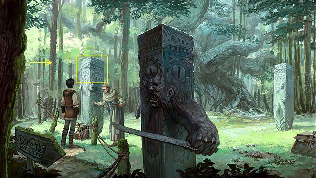 Poproś Nuri (masz ją teraz w ekwipunku), by schowała się za filarem i zagadała do maga (użyj jej na kamiennym słupie z lewej strony mężczyzny) - Dostań się na polanę - Rozdział II - Memoria - poradnik do gry