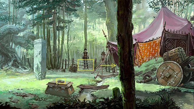 Znalazłszy się w pobliżu namiotu, nożem zlikwiduj sznurkową barierę i wejdź na polanę - zauważ, że stojąca przy strumyku wielka skrzynia tym razem jest zatrzaśnięta - Dostań się na polanę - Rozdział II - Memoria - poradnik do gry