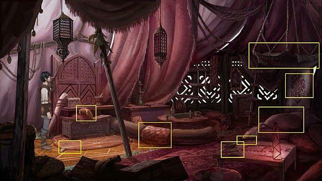 Wewnątrz rozejrzyj się za nim, sprawdzając w dowolnej kolejności następujące rzeczy: poduszkę na skrzyni po lewej, owalny dywanik pod ową skrzynią, jeden z zagłówków przy okrągłym stoliku, małą szkatułkę na stoliku po prawej, łóżko (po prawej) lub wiszący nad nim hamak - omiń jedynie małą szkatułkę - Dostań się na polanę - Rozdział II - Memoria - poradnik do gry