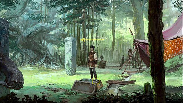 Kluczykiem otwórz wieko skrzyni i zabierz z niej dłuto (po prawej) - Usuń maskę z kamiennego filaru - Rozdział II - Memoria - poradnik do gry