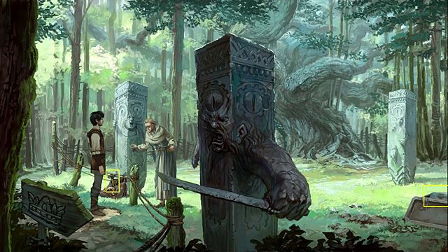 Przy tym bardziej po lewej le�y torba, w kt�rej znajduje si� m�otek, ale Owlric oczywi�cie nie pozwala go zabra� - Usu� mask� z kamiennego filaru - Rozdzia� II - Memoria - poradnik do gry