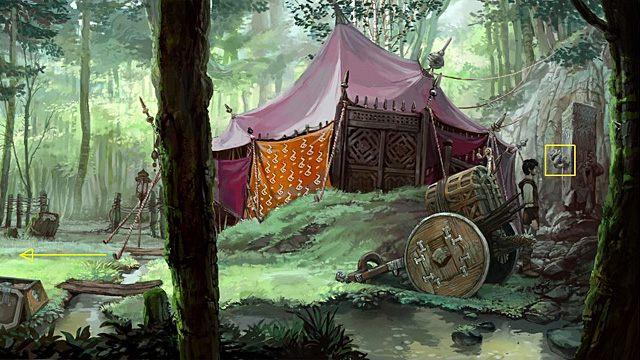 Maszeruj ponownie wzdłuż ogrodzenia w pobliże namiotu, a potem przejdź na jego tyły - Usuń maskę z kamiennego filaru - Rozdział II - Memoria - poradnik do gry