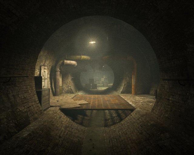 Tunel kanałowy, na jego końcu dwie ścieżki prowadzące do zaworów - Sewer - Solucja - Outlast - poradnik do gry