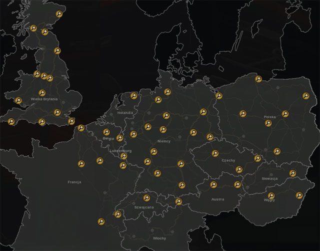 Mapa prezentująca miasta, w których siedzibę mają agencje pracy. - Agencje pracy - Euro Truck Simulator 2: Going East! Ekspansja Polska - poradnik do gry