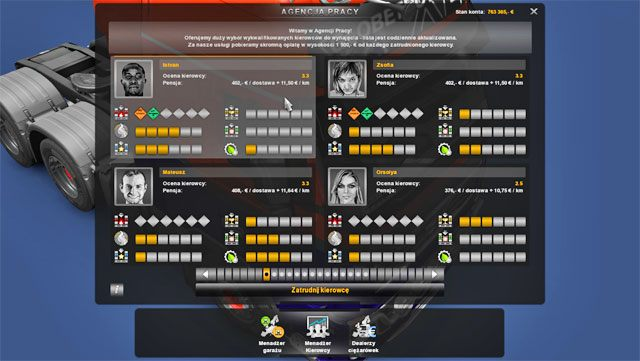 W agencji pracy przejrzysz oferty i zatrudnisz pożądanego pracownika - Agencje pracy - Euro Truck Simulator 2: Going East! Ekspansja Polska - poradnik do gry