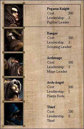 Kolejność w tabeli bohaterów jest następująca: Wojownik, Zwiadowca, Mag, Terraformer, Złodziej - Imperium - Bohaterowie, Wojownicy, Magowie - Disciples II: Mroczne Proroctwo - poradnik do gry