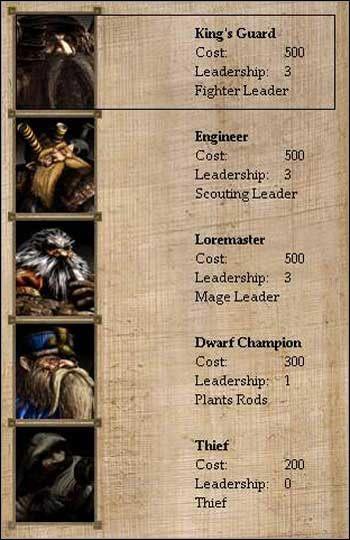 Kolejność w tabeli bohaterów jest następująca: Wojownik, Zwiadowca, Mag, Terraformer, Złodziej - Górskie Klany - Bohaterowie, Wojownicy, Magowie - Disciples II: Mroczne Proroctwo - poradnik do gry