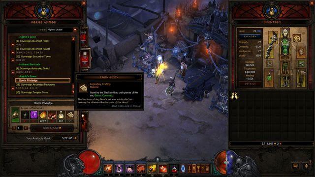 Do wykonania tego przedmiotu potrzeba klucz borna, który leci w pierwszym akcie - Lista materiałów i Lokalizacji | Rzemiosło - Diablo III: Reaper of Souls - poradnik do gry