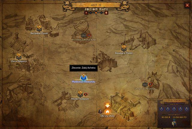 Mapa aktu z oznaczonymi zleceniami. W prawym dolnym rogu można zobaczyć postępy i przewidywane nagrody - w tym Skarb Horadrimów. - Zlecenia | Opis mechanizmów rozgrywki - Diablo III: Reaper of Souls - poradnik do gry