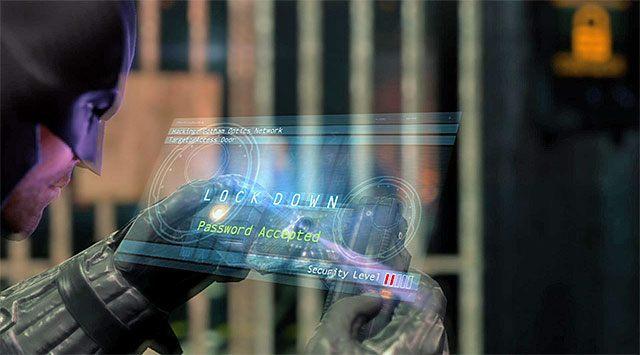 Musisz teraz wyruszyć z powrotem w stronę wejścia do serwerowni, które będziesz sobie już mógł odblokować dzięki pozyskaniu zakłócacza - Uzyskaj dostęp do serwerów policji - powrót do serwerowni - Główny wątek - Batman: Arkham Origins - poradnik do gry