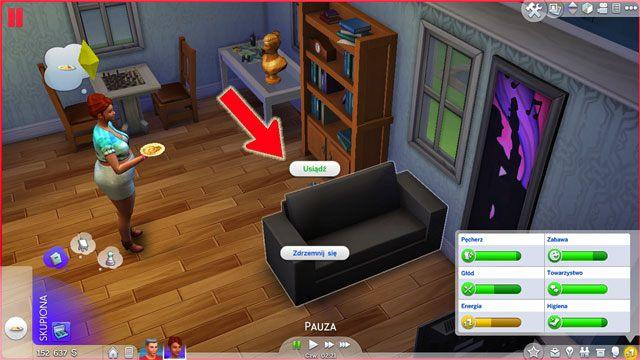 Aby kierować poczynaniami Sima należy kliknąć w danym miejscu (lewym przyciskiem myszy) co otworzy menu z dostępnymi interakcjami - Poruszanie się | Życie Sima - The Sims 4 - poradnik do gry