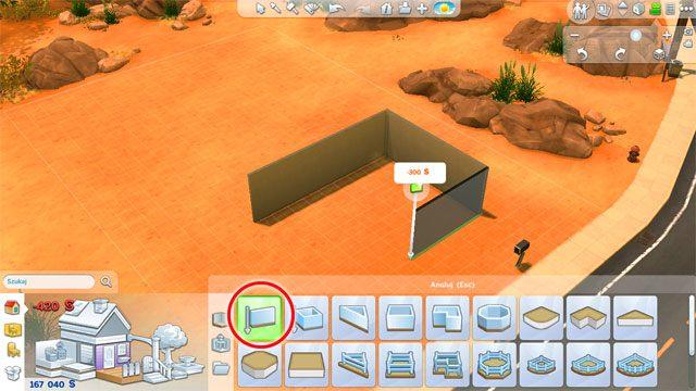 Przechodząc do budowy ścian: korzystając z pierwszego dostępnego narzędzia możesz budować ścianę po ścianie i w ten sposób kreować wygląd domu - Budowanie domu - Dom Sima - The Sims 4 - poradnik do gry