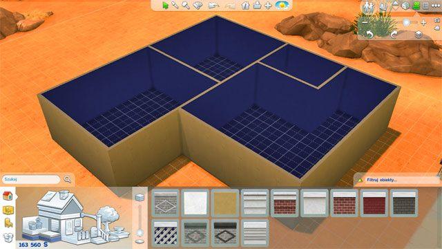 Stworzone pomieszczenie możesz wewnątrz dodatkowo dzielić stawiając kolejne ściany - Budowanie domu - Dom Sima - The Sims 4 - poradnik do gry