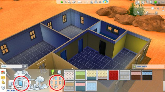 Przejdź do odpowiedniej sekcji w panelu budowania - Budowanie domu - Dom Sima - The Sims 4 - poradnik do gry