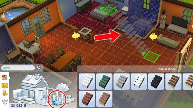 Powróć na piętro niżej, na panelu budowania odszukaj ikonkę schodów, wybierz jeden z dostępnych wzorów i umieść w środku domu - Rozbudowa domu | Dom Sima - The Sims 4 - poradnik do gry
