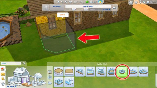 Taras możesz stworzyć także na poziomie gruntu korzystając z gotowego narzędzia w trybie budowy - Rozbudowa domu | Dom Sima - The Sims 4 - poradnik do gry