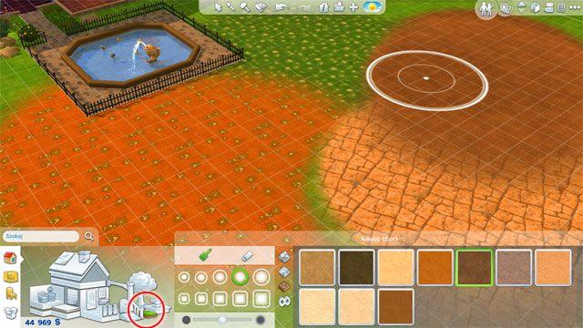 Korzystając z narzędzia pokrycia terenu możesz dowolnie zmieniać wygląd gruntu: może to być ukwiecona trawa, piach, żwir czy nawet podłoże kamienne - Rozbudowa domu | Dom Sima - The Sims 4 - poradnik do gry