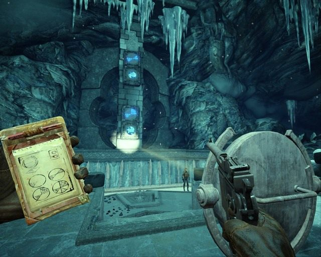 Kolejna zagadka, wystarczy naświetlać kryształy tak jak w notatniku - Ice Temple - Opis przejścia - Deadfall Adventures - poradnik do gry