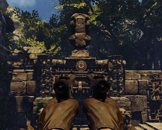 Po przekręceniu kołem strzel do przycisku - Mayan Jungle - Opis przejścia - Deadfall Adventures - poradnik do gry