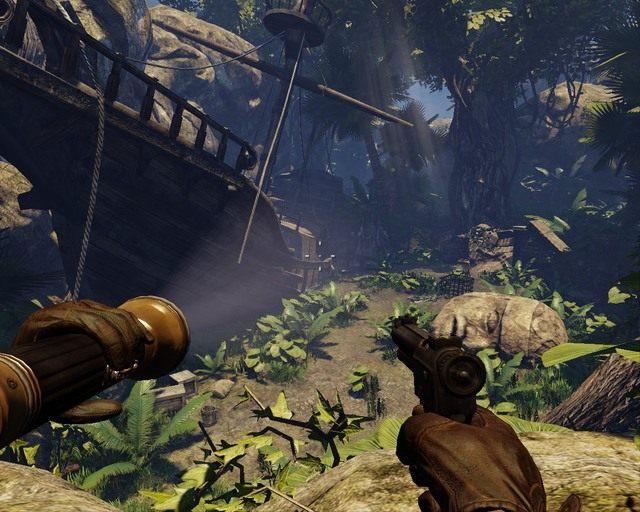 Wrak statku robi wrażenie, w środku weź dziennik - Mayan Jungle - Opis przejścia - Deadfall Adventures - poradnik do gry