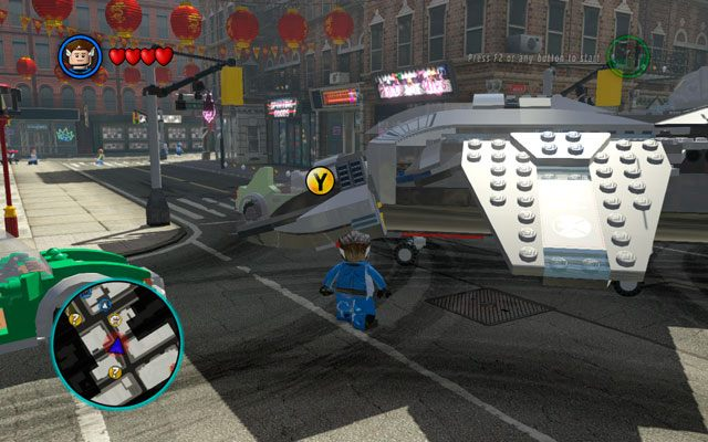 Podobnie jak poprzednim razem, jedynym celem tego przerywnika jest zeskoczenie z lotniskowca S - S.H.I.E.L.D. Helicarrier 4 / Nowy Jork - Opis przejścia - LEGO Marvel Super Heroes - poradnik do gry