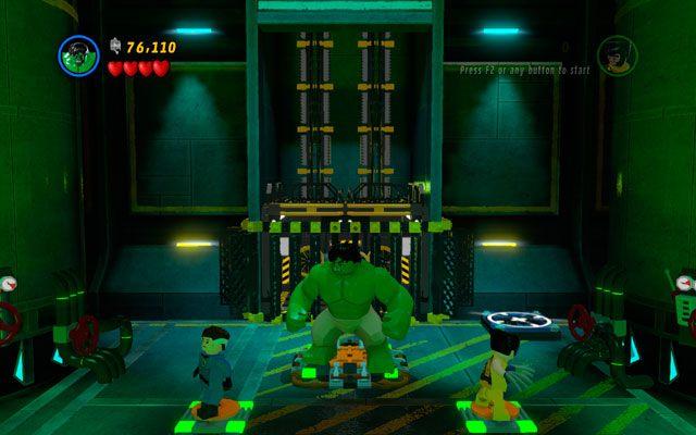 Będąc za zbiornikiem z kwasem podejdź wszystkimi postaciami na środek sali i stań na odpowiednich podwyższeniach - Taking Liberties - Opis przejścia - LEGO Marvel Super Heroes - poradnik do gry