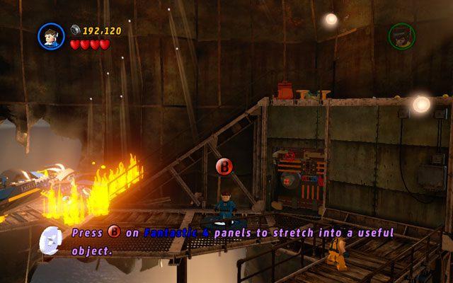 Użyj konstrukcji jako Pan Fantastyczny, gasząc pobliski pożar - Taking Liberties - Opis przejścia - LEGO Marvel Super Heroes - poradnik do gry