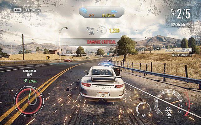Gra zawsze ostrzega gdy sterowany pojazd jest bliski całkowitego zniszczenia - Uszkodzenia samochodu i jego naprawa - Podstawowe informacje - Need for Speed Rivals - poradnik do gry