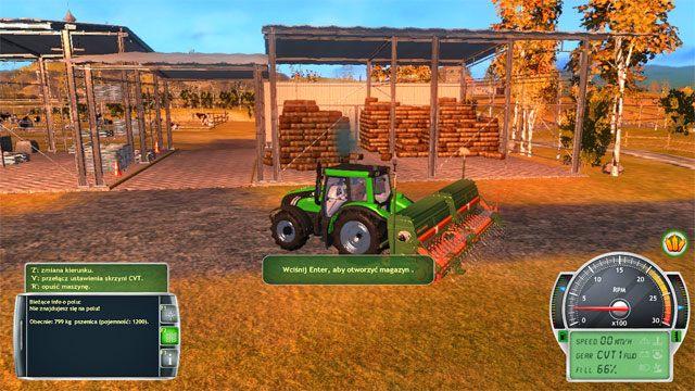Siewnik napełniasz zbożem w magazynie na terenie farmy. - Rodzaje roślin uprawnych - Elementy gry - Symulator Farmy 2014 - poradnik do gry