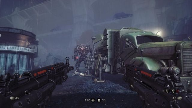 Walka z dwoma mechami może być kłopotliwa - Nowy świat - Misje Główne - Wolfenstein: The New Order - poradnik do gry