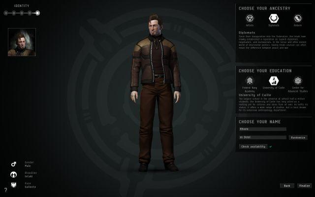Ten ekran służy rewizji wszystkich poprzednich kroków oraz wyboru dwóch ostatnich elementów: pochodzenia i szkoły - Tworzenie postaci - Pierwsze kroki - EVE Online - poradnik do gry