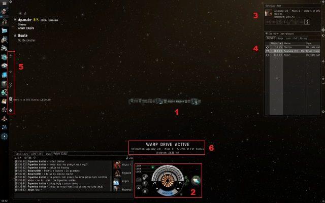 Elementy interfejsu w przestrzeni - Pierwsze wrażenia - Pierwsze kroki - EVE Online - poradnik do gry