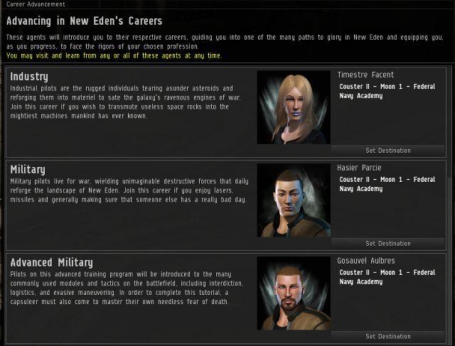 Pod koniec Aura zostawi cię w systemie, w którym znajduje się pięciu nowych agentów, tzw - Pierwsze wrażenia - Pierwsze kroki - EVE Online - poradnik do gry